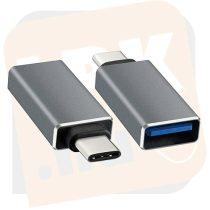 Kábel átalakító - USB 3.0 Type-c apa - USB 3.0 anya Ezüst (CA431M)